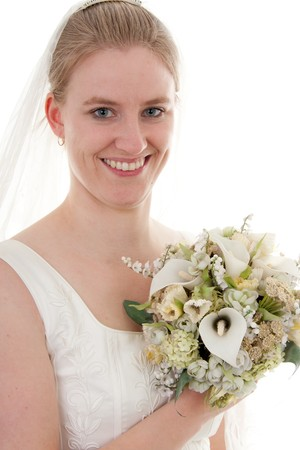 Portrait of a young beautiful bride with bouquet over white background Stock Photo - 7106971