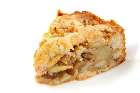 Piece of apple pie isolated on white background photo