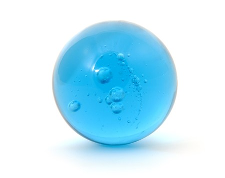 Big blue shoot marble with bubbles isolated on white background photo
