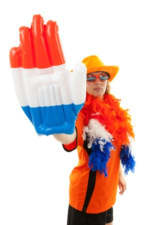 Female Dutch soccer supporter with blown up hand with flag ( red white blue) over white background Stock Photo - 7280421