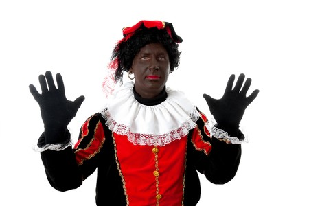 saint nicolaas: Zwarte piet ( black pete) typical Dutch character part of a traditional event celebrating the birthday of  Sinterklaas in december over white background
