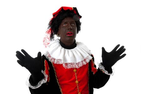 surprised Zwarte piet ( black pete) typical Dutch character part of a traditional event celebrating the birthday of  Sinterklaas in december over white background Stock Photo - 7361577