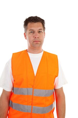 man in safety vest over white background photo