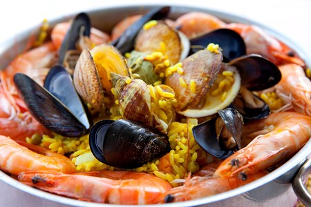 Pan with traditional Spanish paella dinner in closeup
