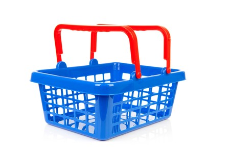 empty blue red shopping basket isolated on white background
