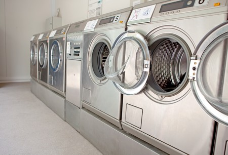 laundrette: row of washing machines in closeup