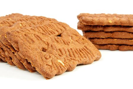 speculaas: Dutch speculaas biscuit cake isolated on white background