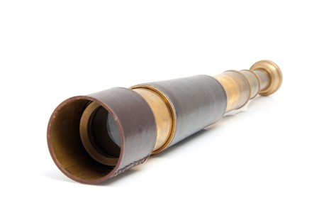 monocular: spyglass pirate Scope Monocular over white background Stock Photo