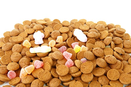 Pile of typical dutch sweets: pepernoten (ginger nuts) for a celebration at 5 december in the Netherlands