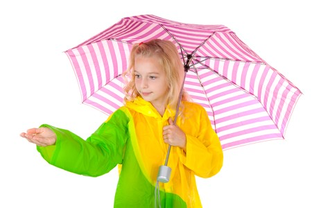 blonde girl standing under umbrella feel if it is raining over white background Stock Photo - 8179233