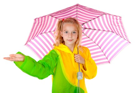 blonde girl standing under umbrella feel if it is raining over white background Stock Photo - 8179236