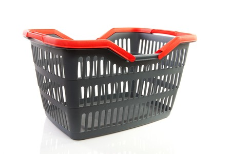 empty grey shopping basket with red handles isolated on white background