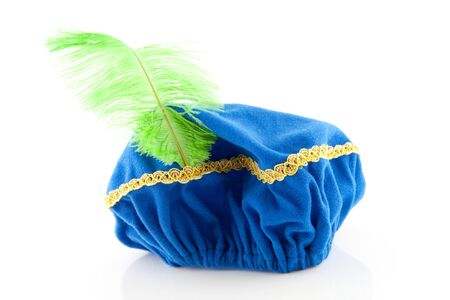 zwarte: blue hat with green feather of Zwarte Piet, typical Dutch event in december, isolated on white background