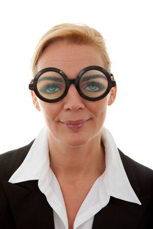 portrait of businesswoman with funny glasses over white background Stock Photo - 8791622
