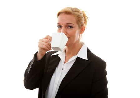 Businesswoman with cup of tea or coffee over white background Stock Photo - 8791581
