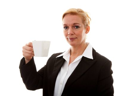 Businesswoman with cup of tea or coffee over white background Stock Photo - 8791578