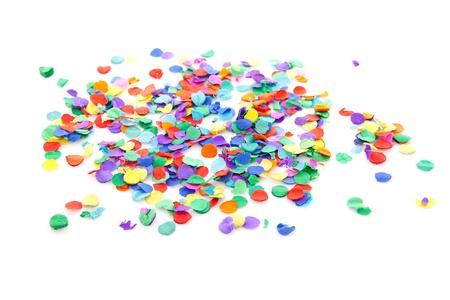 colorful confetti over white background