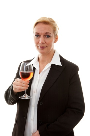 Businesswoman with glass of wine over white background Stock Photo - 8791617