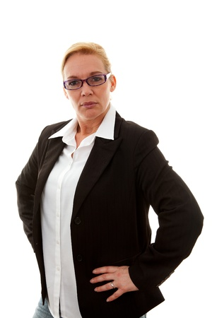 business woman is tough over white background Stock Photo - 8791611