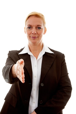 Businesswoman is shaking your hand over white background Stock Photo - 8792757