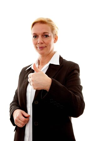 thumps up: Business woman with thumps up over white background