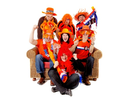 cheering fans: Group of Dutch soccer fan watching game over white background Stock Photo