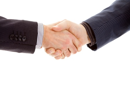 Business man making handshake in closeup over white background photo