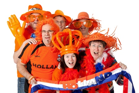 dutch: Group of Dutch soccer fans over white background Stock Photo