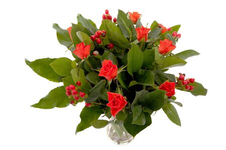 Bouquet of red flowers and leaves photo