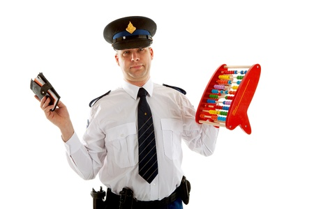 dutch: Dutch police officer is counting vouchers quotas with abacus over white background Stock Photo