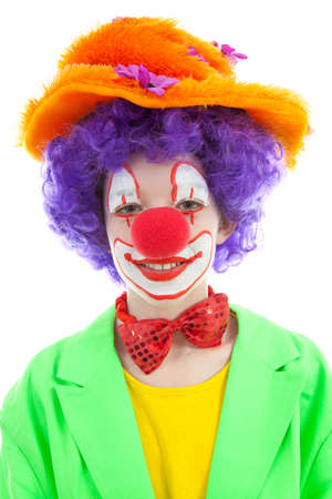 portrait of child dressed as colorful funny clown with balloons over white background Stock Photo - 8954143