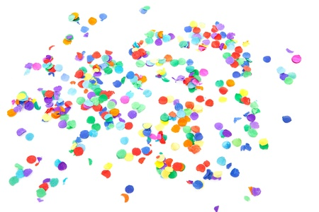 colorful confetti over white background