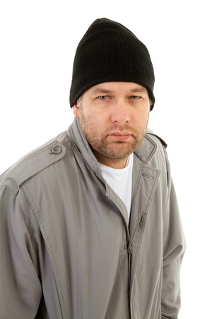 lonelyness: male homeless tramp over white background Stock Photo