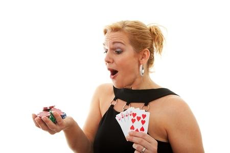 Woman holding Royal Flush over white background photo