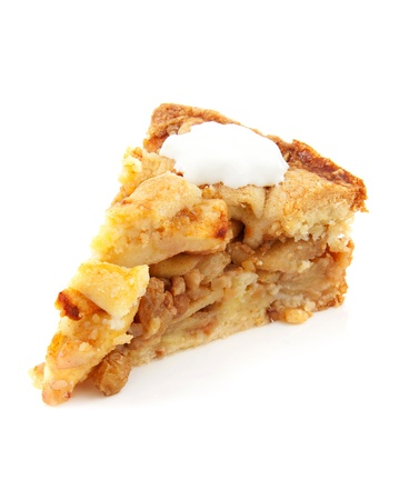 apple tart: piece of apple pie with whipped cream over white background