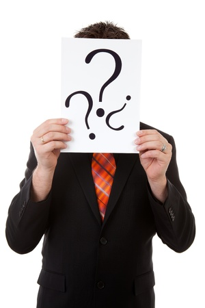 Businessman is holding board with question signs, isolated on white background