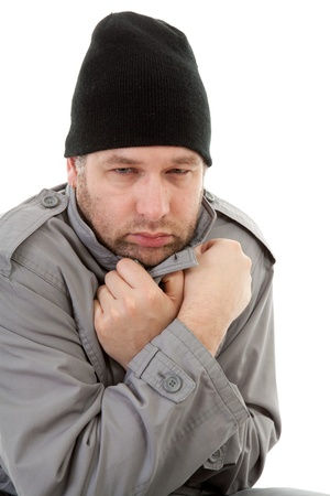 male homeless tramp over white background Stock Photo