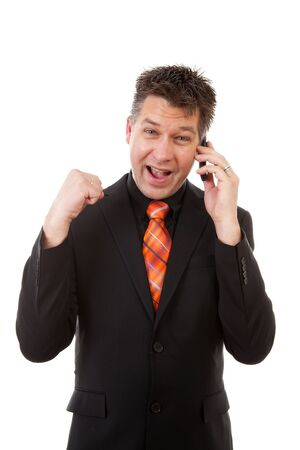 Happy businessman on the phone  over white background Stock Photo - 9562796