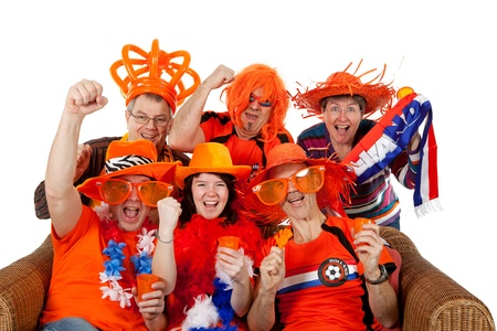 Group of Dutch soccer fans over white background Stock Photo