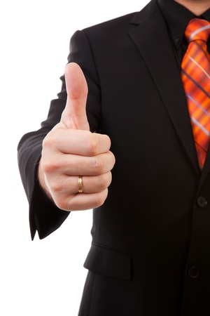 contended: Businessman is pleased, thumbs up in closeup  over white background Stock Photo