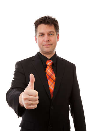 Businessman is pleased, thumbs up  over white background Stock Photo - 9562793