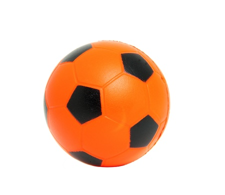 soccer match: Orange soccer ball isolated on white background Stock Photo