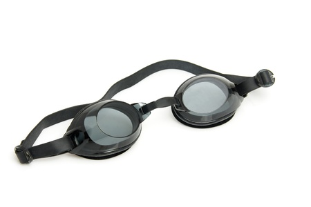 snorkle: Black dive goggles isolated on white background