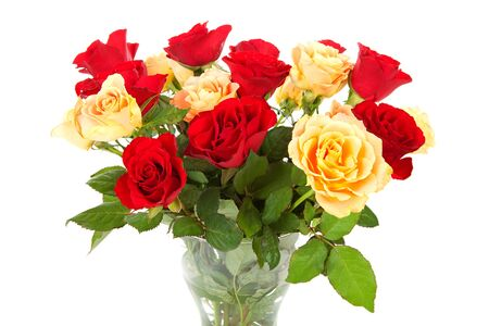 Bouquet of red and orange roses over white background