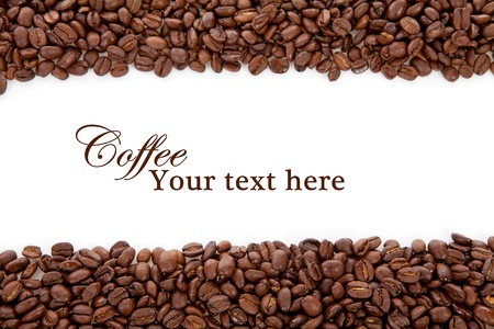 beverage in bean: Coffee beans over white background with space for your text Stock Photo