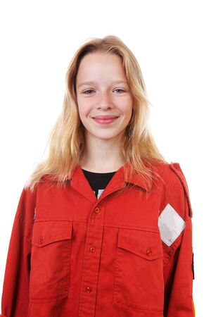 dutch girl: Portrait of  Dutch scout girl over white background