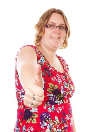 gratified: woman with thumbs up over white background