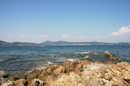 tropez: View over the sea from St. Tropez Stock Photo