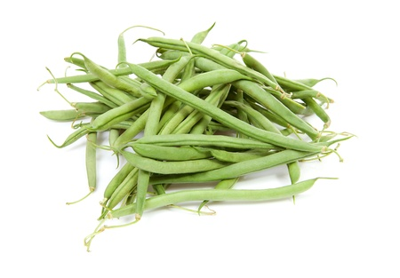 raw long green beans over white background Stock Photo - 9856712