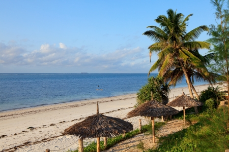Nyali beach in Kenya with tropical view over the ocean